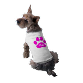 Custom name Neon Pink and White Dog Paw Shirt
