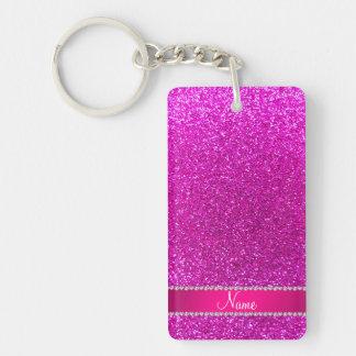 Custom name neon pink glitter hot pink stripe Double-Sided rectangular acrylic key ring