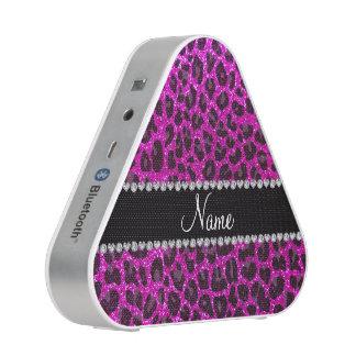 Custom name neon pink glitter leopard print