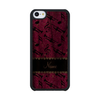 Custom name neon pink glitter trumpets music notes carved® walnut iPhone 5C case