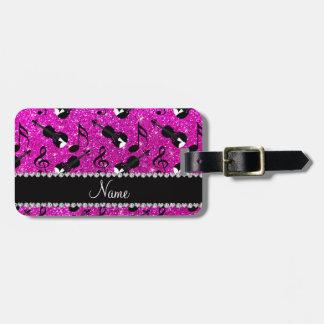Custom name neon pink glitter violins music notes bag tag