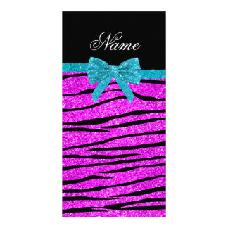 Custom name neon pink glitter zebra stripes bow photo card template