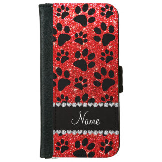 Custom name neon red glitter black dog paws iPhone 6 wallet case