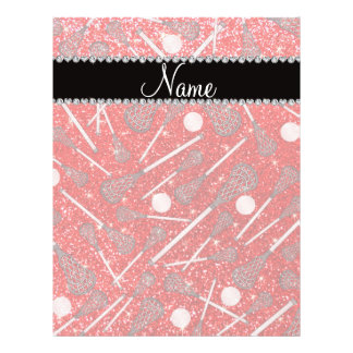Custom name neon red glitter lacrosse sticks flyers