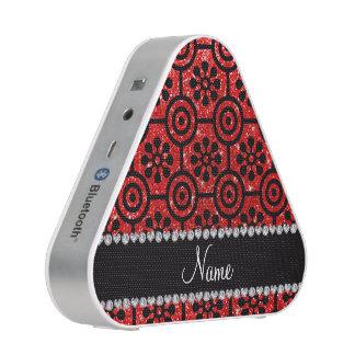 Custom name neon red glitter retro flowers bluetooth speaker