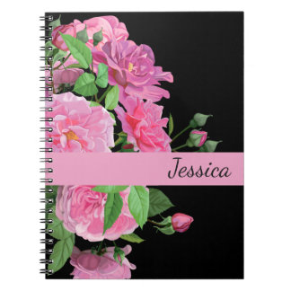 Custom Name Notebook-Pink Roses Notebooks