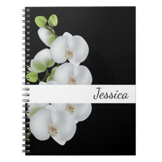 Custom Name Notebook-White Orchids Notebook