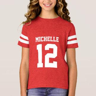 Custom Name Number Girls Sport Jersey T-Shirt