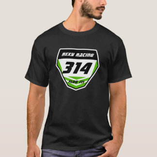 Custom Name Number Plate: Green - Dark Number T-Shirt