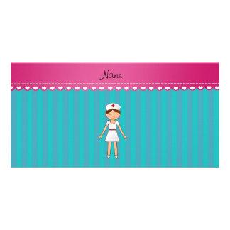 Custom name nurse turquoise stripes pink stripe custom photo card