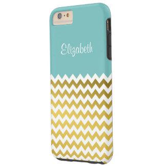 Custom Name On Aqua Sky Blue, Gold & White Chevron Tough iPhone 6 Plus Case