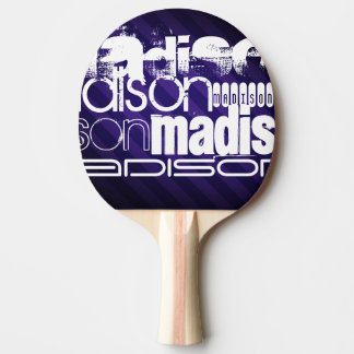 Custom Name on Deep Violet Purple Stripes Ping Pong Paddle