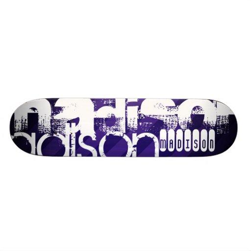 Custom Name on Deep Violet Purple Stripes Skateboards