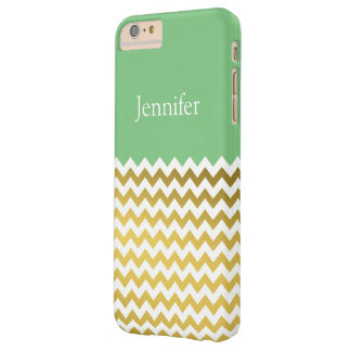 Custom Name On Grass Green, Gold & White Chevron Barely There iPhone 6 Plus Case