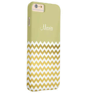 Custom Name On Linden Green, Gold & White Chevron Barely There iPhone 6 Plus Case