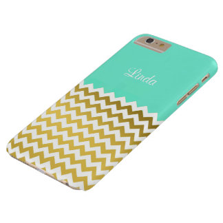 Custom Name On Mint Green 2, Gold & White Chevron Barely There iPhone 6 Plus Case