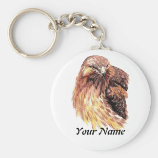 Custom Name or Business Red Tailed Hawk, Bird Key Ring