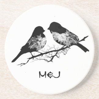 Custom Name or Monogram Love Birds Drink Coasters