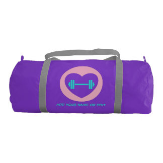 Custom Name or Text Duffle Gym Bag, Purple Gym Bag