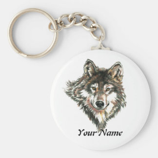Custom Name or Text Wolf Logo watercolor Animal Basic Round Button Key Ring
