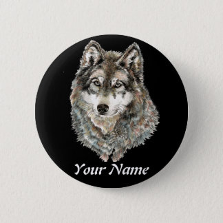 Custom Name or Text Wolf watercolor Animal 6 Cm Round Badge