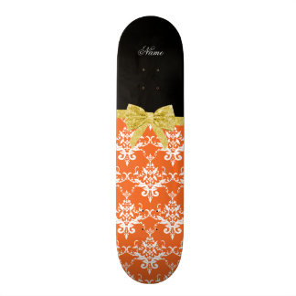 Custom name orange damask gold glitter bow skate board deck