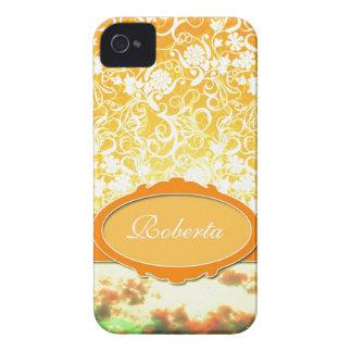 Custom Name Orange Girly Pattern Flowers and Sky iPhone 4 Covers