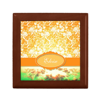 Custom Name Orange Girly Pattern Flowers and Sky Small Square Gift Box