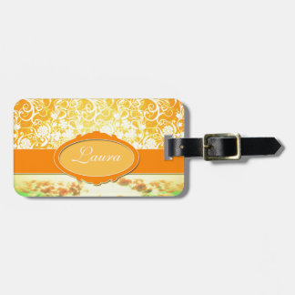 Custom Name Orange Girly Pattern Flowers and Sky Travel Bag Tags