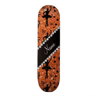 Custom name orange glitter ballerinas custom skateboard
