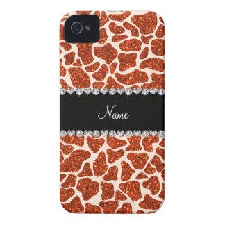 Custom name orange glitter giraffe print iPhone 4 cover