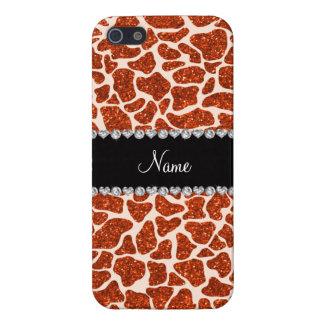 Custom name orange glitter giraffe print iPhone 5/5S cover
