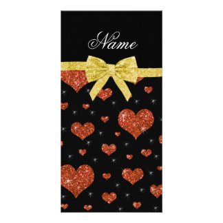 Custom name orange glitter hearts gold bow photo greeting card