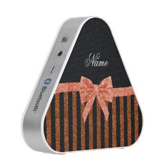 Custom name orange glitter stripes bows