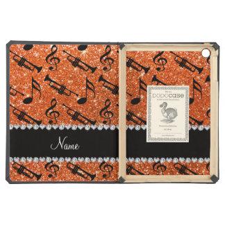 Custom name orange glitter trumpets music notes iPad air covers