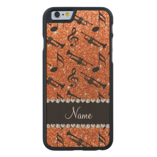 Custom name orange glitter trumpets music notes carved® maple iPhone 6 case
