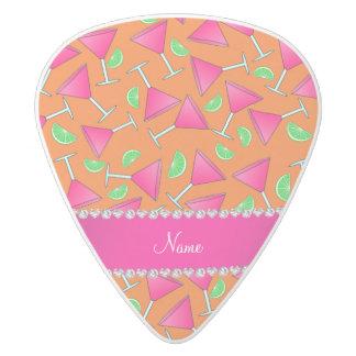 Custom name orange pink cosmos limes white delrin guitar pick