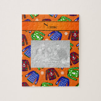 Custom name orange ugly christmas sweater pattern puzzle