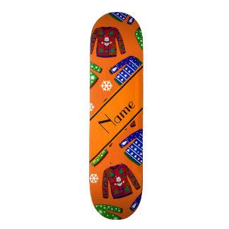 Custom name orange ugly christmas sweater pattern custom skateboard