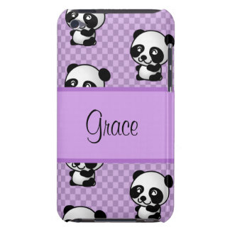 Custom Name Panda Bears on Purple Gingham Case-Mate iPod Touch Case
