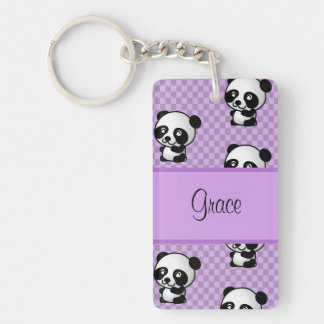 Custom Name Panda Bears on Purple Gingham Single-Sided Rectangular Acrylic Key Ring