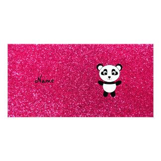 Custom name panda pink glitter photo card
