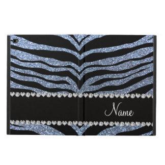 Custom name pastel blue glitter tiger stripes