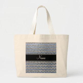 Custom name pastel blue silver glitter chevrons jumbo tote bag