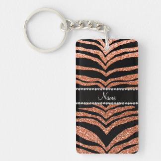 Custom name pastel orange glitter tiger stripes Single-Sided rectangular acrylic key ring
