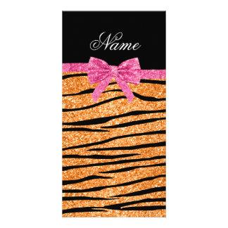 Custom name pastel orange glitter zebra stripes customized photo card