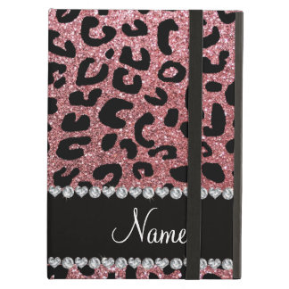 Custom name pastel pink glitter cheetah print cover for iPad air