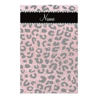Custom name pastel pink glitter cheetah print stationery design