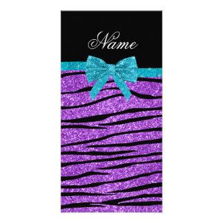 Custom name pastel purple glitter zebra stripes photo card template