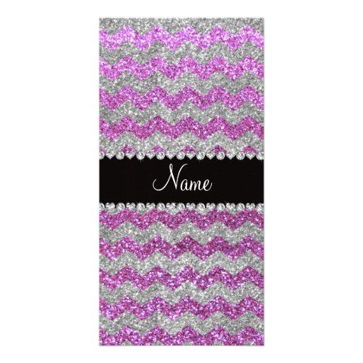 Custom name pastel purple silver glitter chevrons photo cards